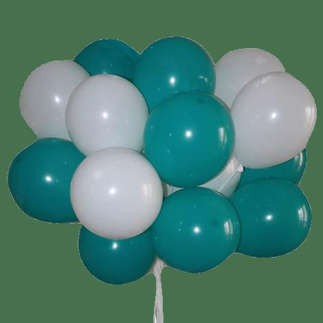 Облако шариков белого и голубого цвета