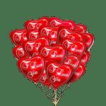 Букет фольгированных сердец i love you
