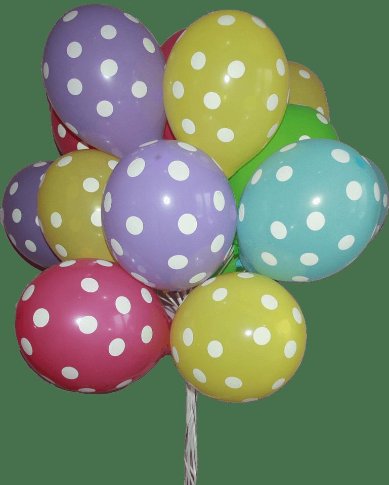 Облако из шаров, разноцветные в горошек