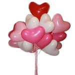 букет шары-сердца из латекса белого, розового, красного цвета