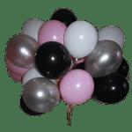 облако из воздушных шариков белого,розового,черного цвета