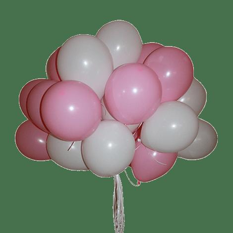 Облако из воздцшных шариков белого и розового цвета