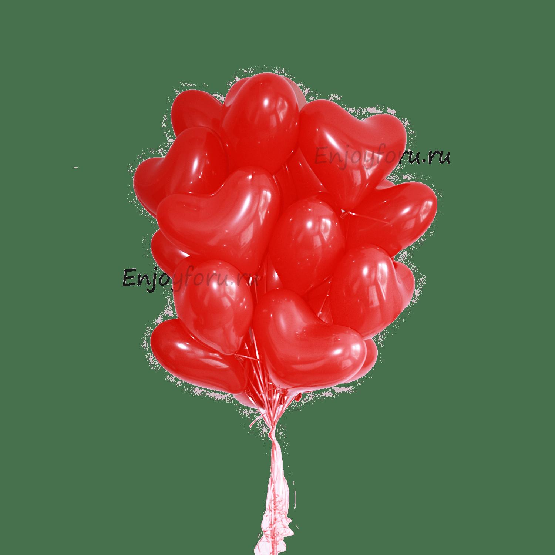 облако из воздушных шаров сердец красного цвета