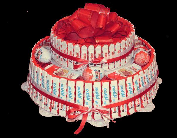Сладкий подарок торт из батончиков и Киндер сюрпризов