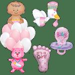 Композиция гелиевых шариков на выписку девочка