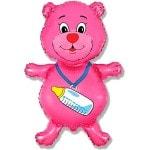 Фольгированный шар Медвежонок розовый