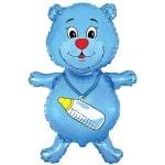 Фольгированный гелиевый шар Медвежонок синий