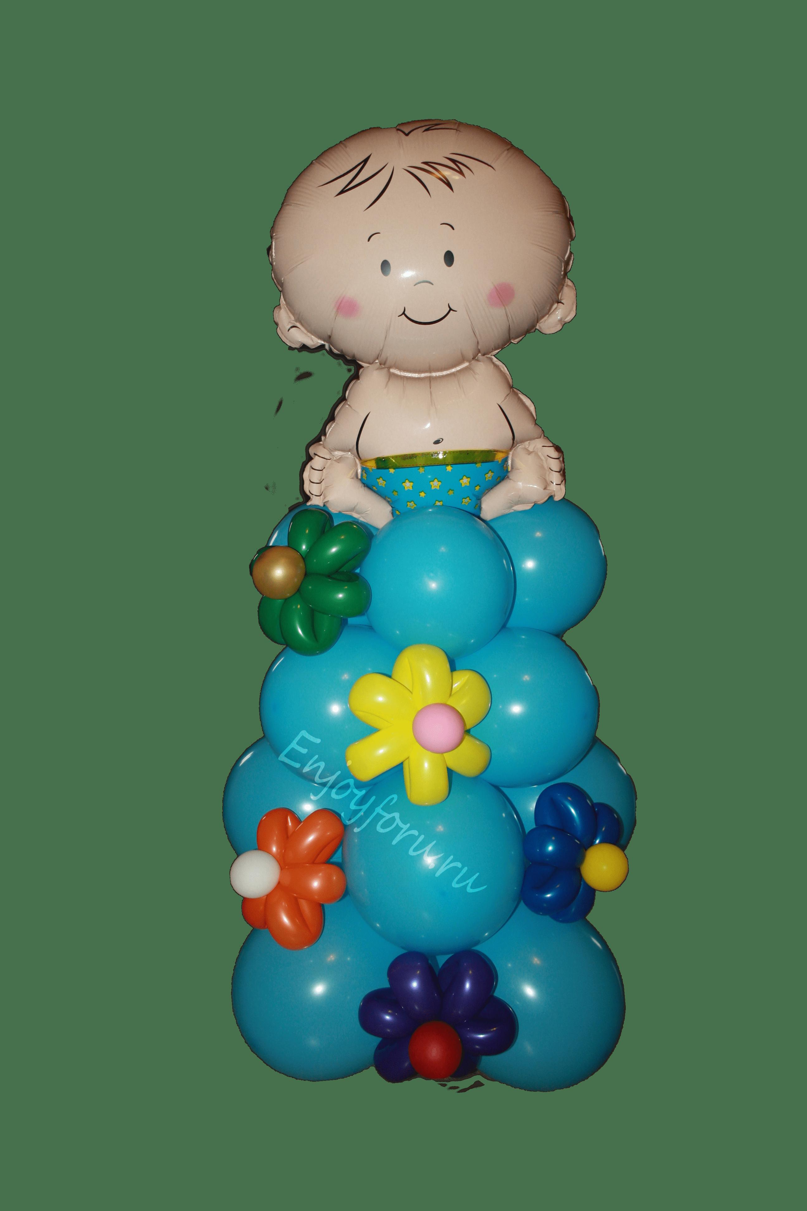Фигура из воздушных шаров для выписки малыша