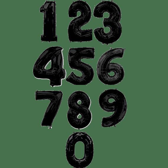 Фольгированные шары-цифры черного цвета