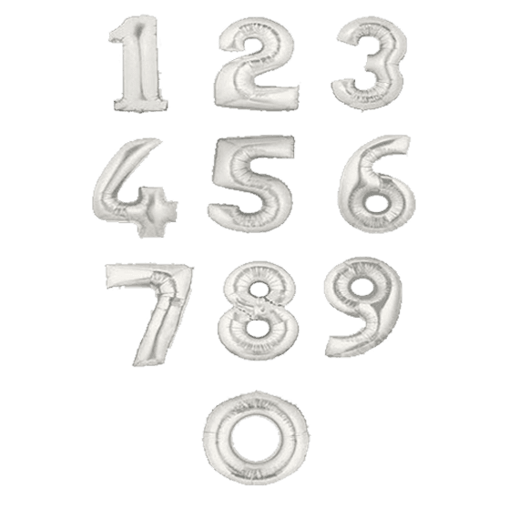 Серебряные гелиевые фольгированные цифры