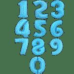 Фольгированные шары-цифры синие со звездами