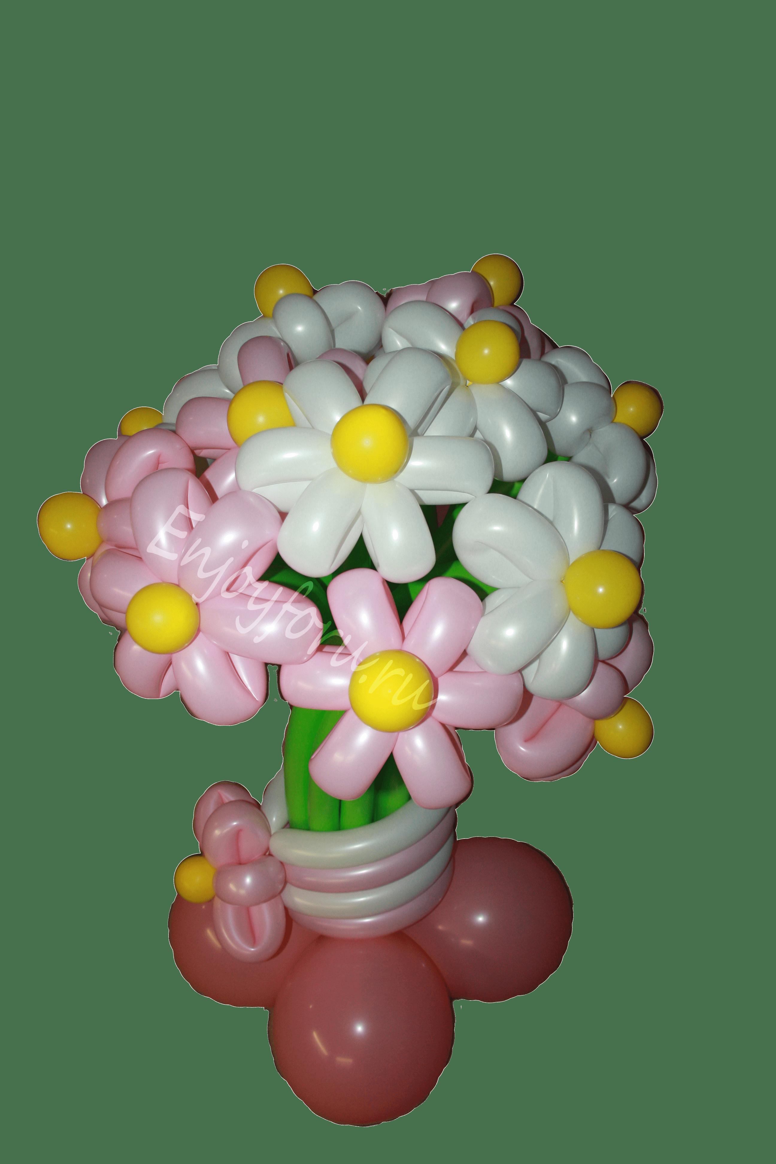 Букет цветов из воздушных шаров с подставкой