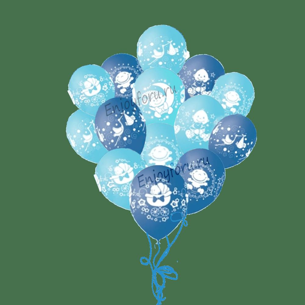 Букет из воздушных шариков для выписки голубого цвета