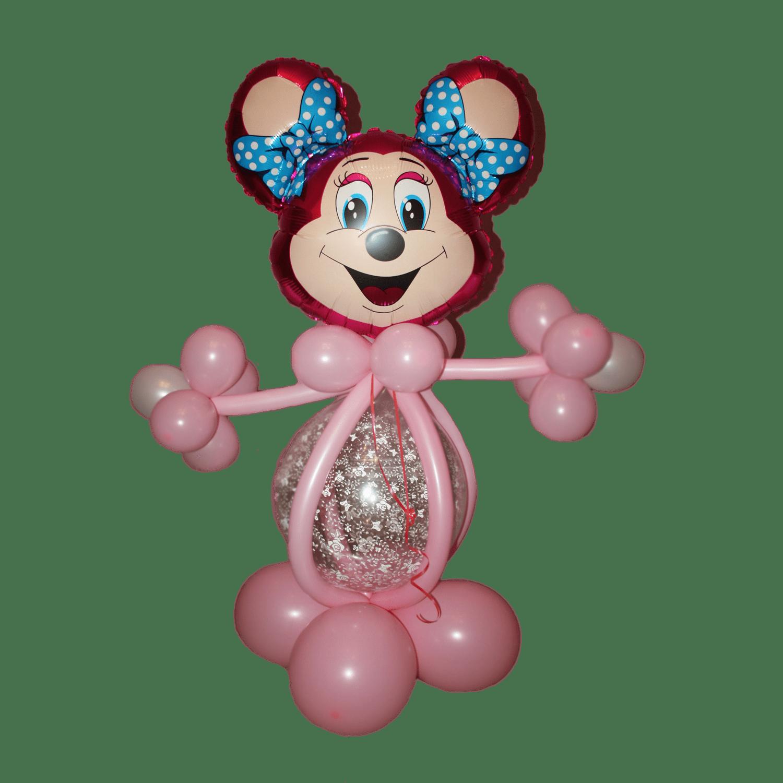 Воздушный шар в форме мышки розовый