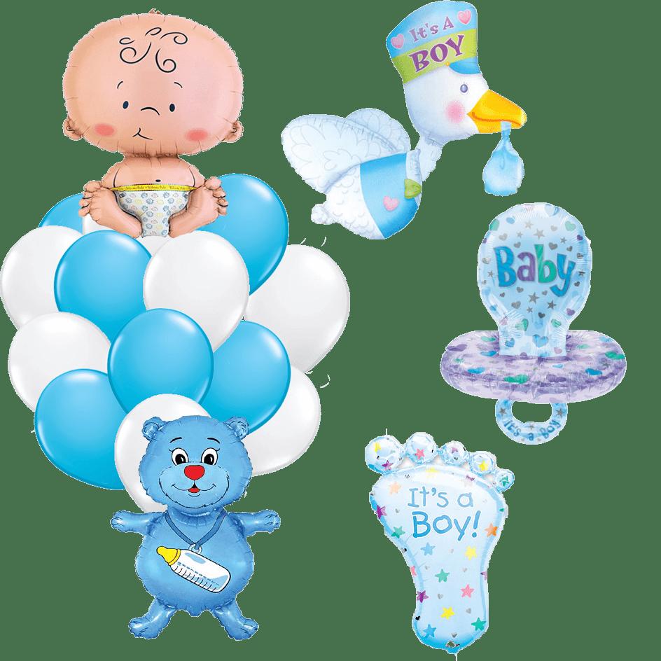 Композиция гелиевых шаров на выписку мальчик