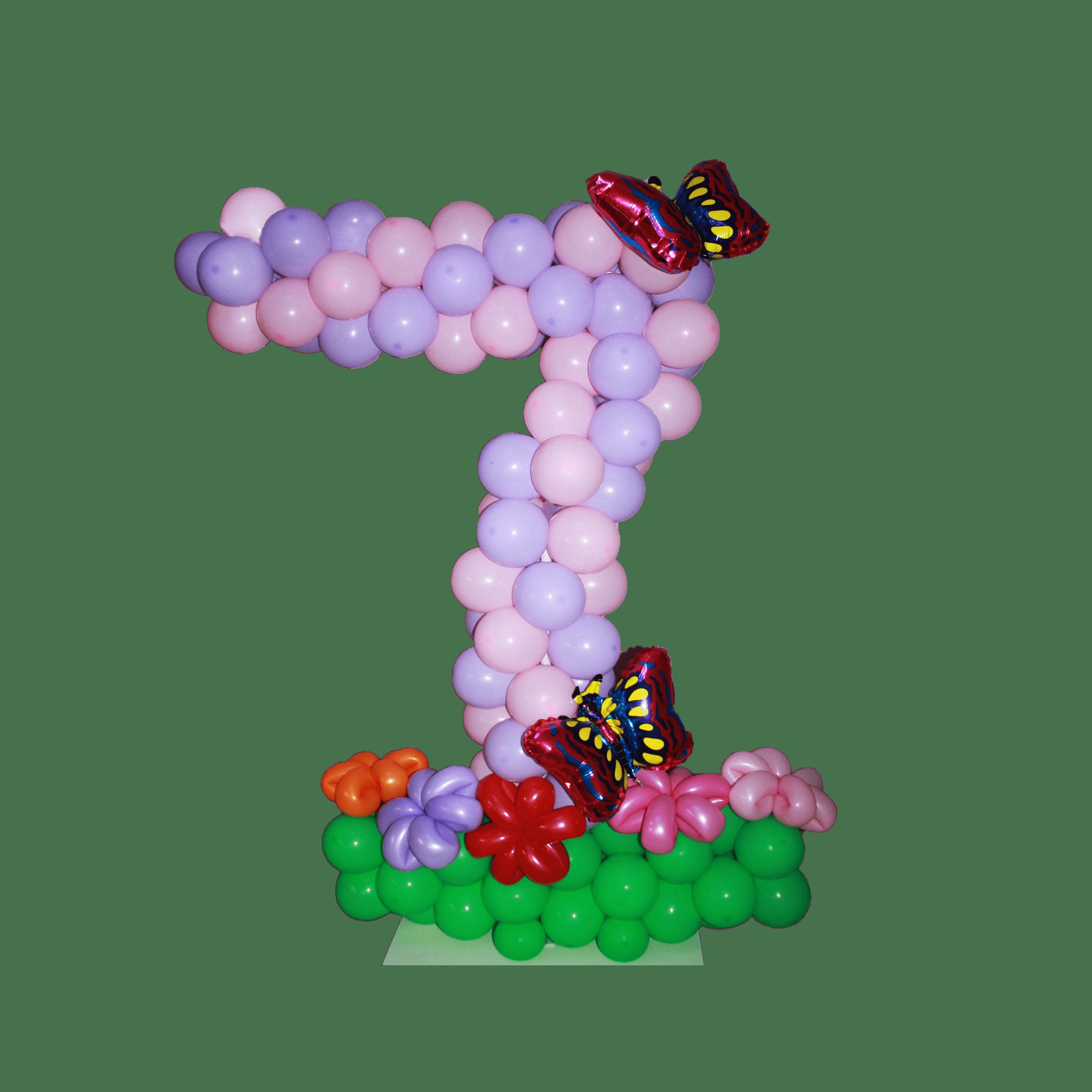цифра семь из воздушных шариков с бабочками