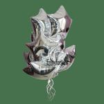 Букет фольгированных шаров серебряных звезд