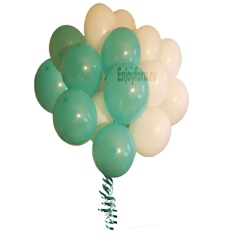 букет шаров мятного и белого цвета