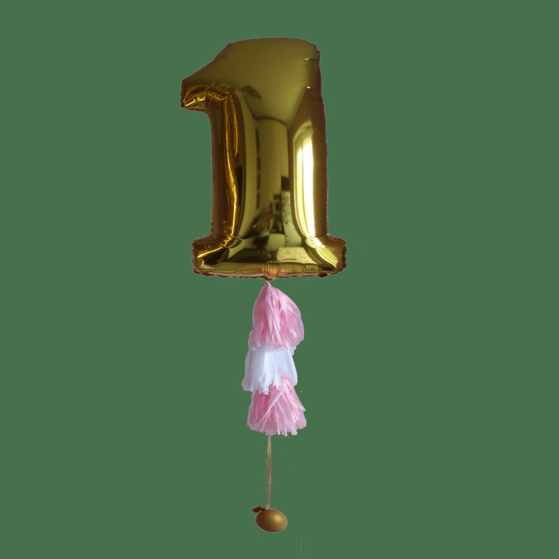 Фольгированный шар-цифра с гирляндой тассел