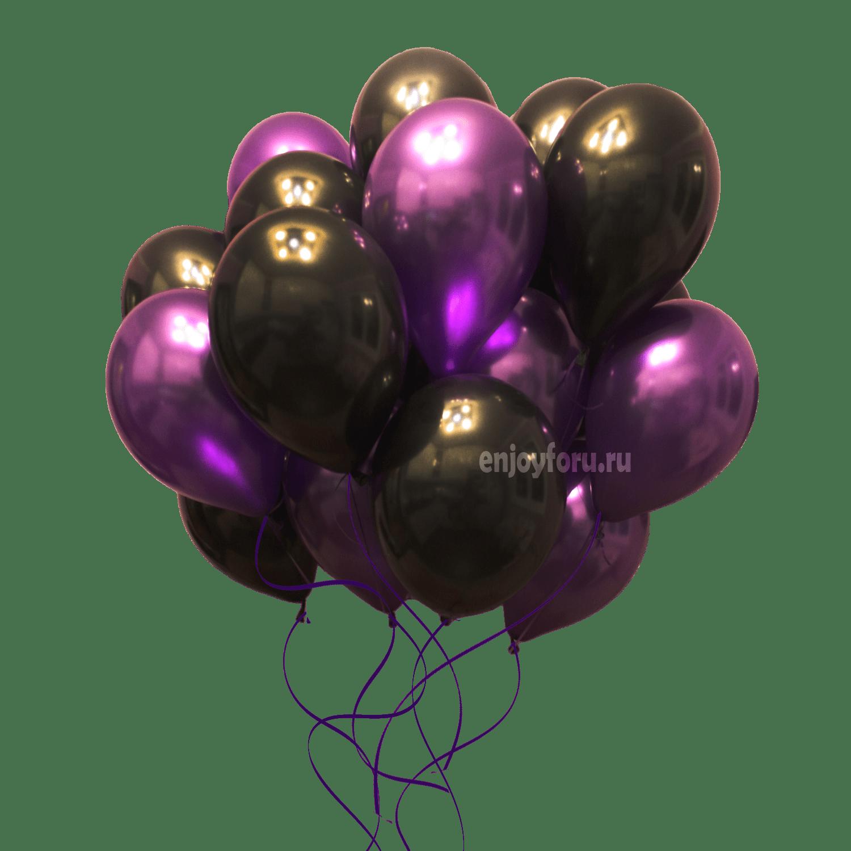 Облако из воздушных шариков насыщенного черного и фиолетового цвета