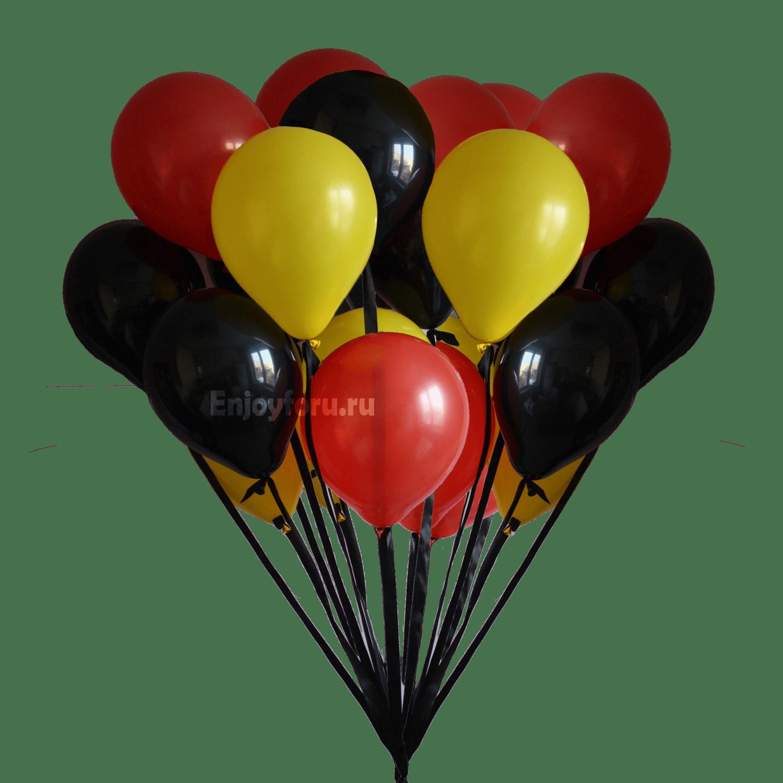 Букет из воздушных шариков черного, желтого, красного цвета с атласной лентой