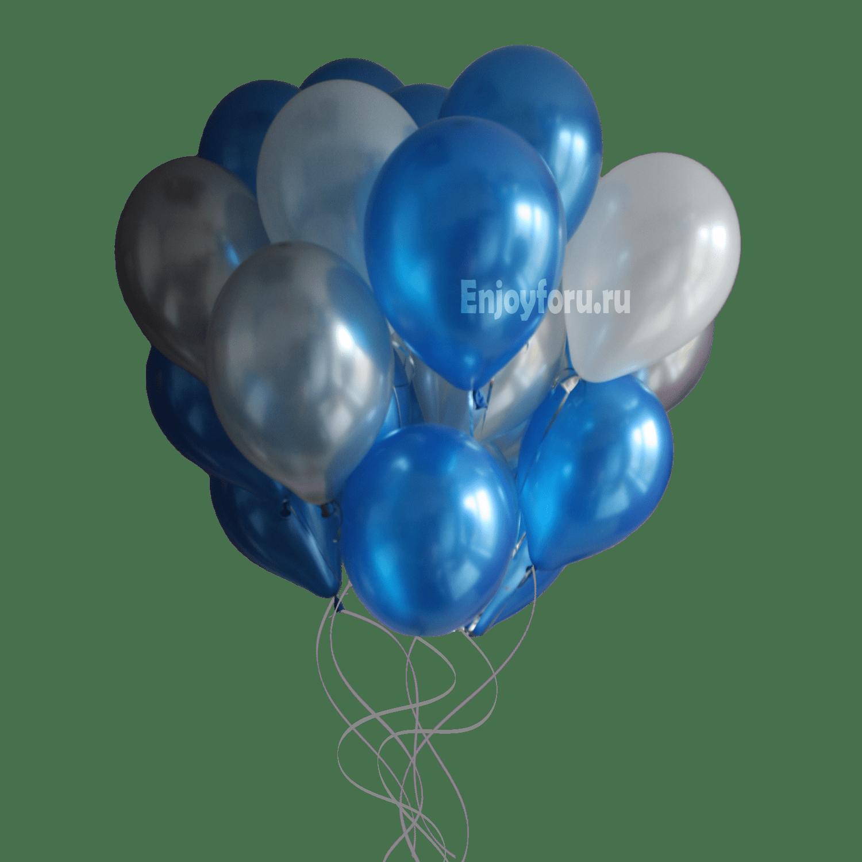 Облако из воздушных шариков белого, синего и серебряного цвета с металликом
