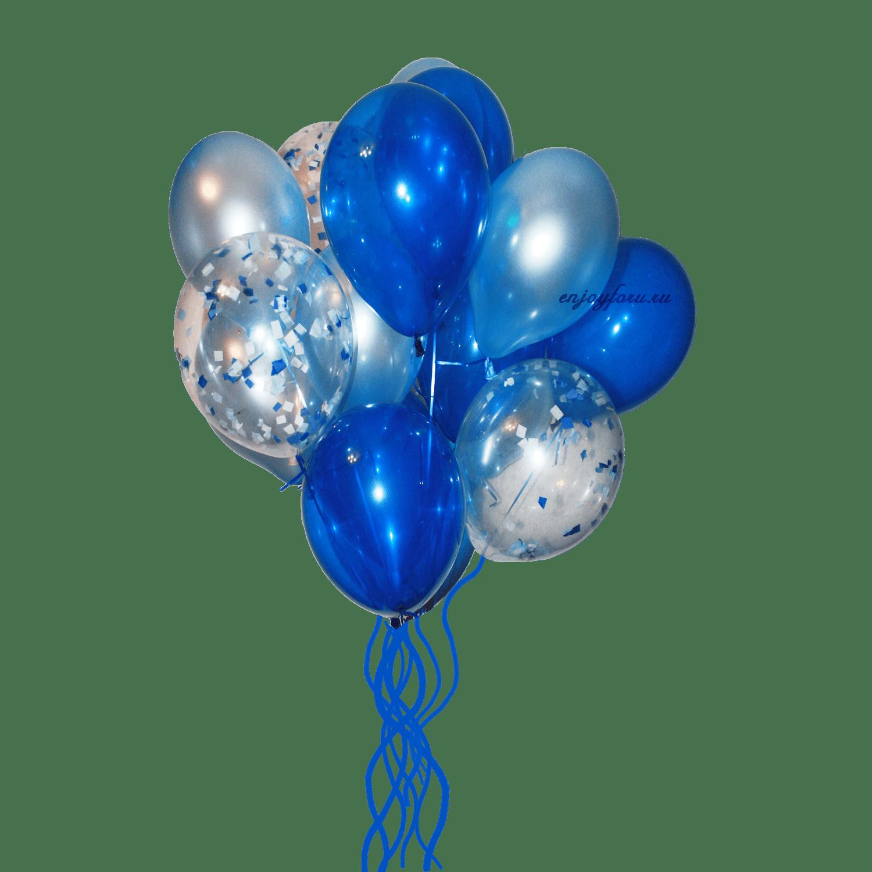 Облако воздушных шаров синего, серебряного цвета с блестящими звездами