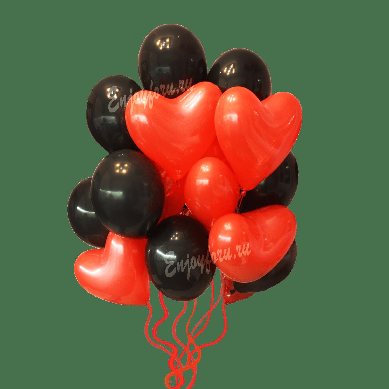 Облако из воздушных шаров черного цвета с красными шарами