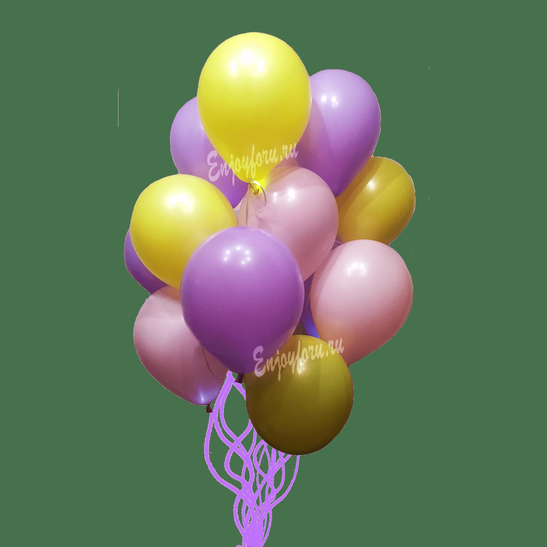 букет из воздушных шариков желтого, сиреневого, розового цвета