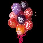 облако из воздушных шариков разноцветные с сердечками и надписями
