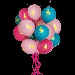 облако воздушных шаров с рисунком фламинго