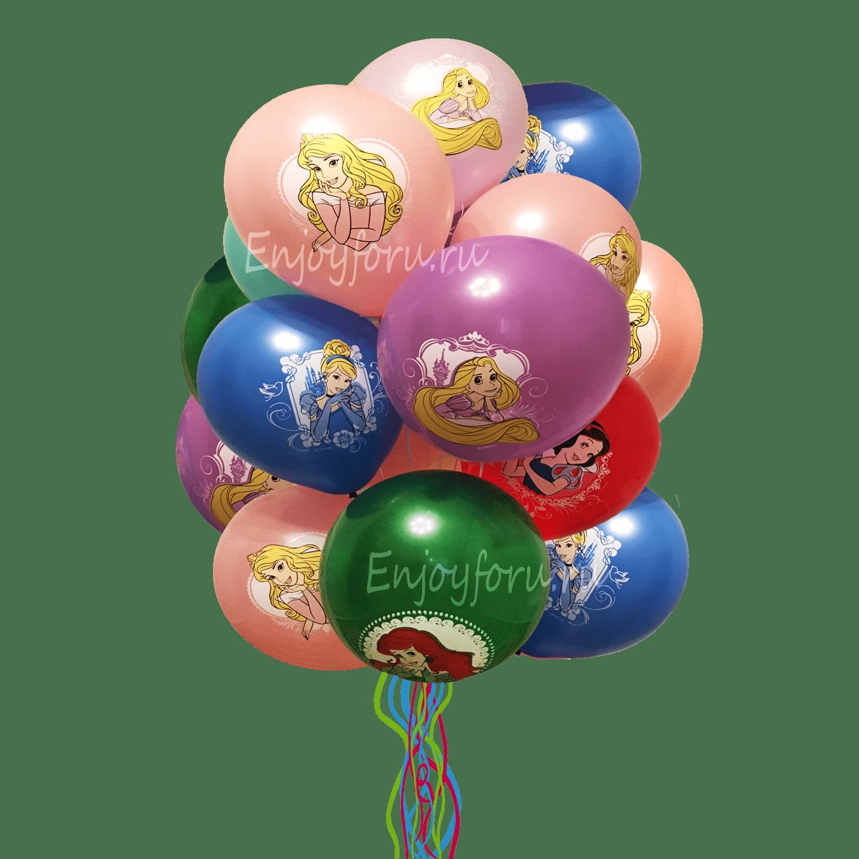 облако из шаров разноцветное с принцессами