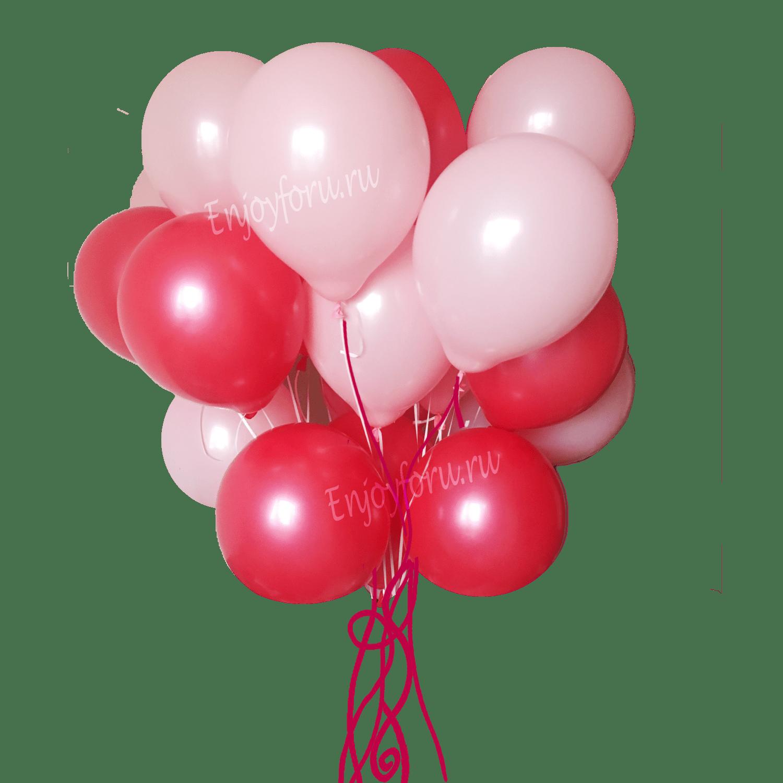 облако из воздушных шаров красного и розового цвета