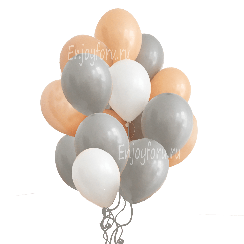 облако из серых белых персиковых воздушных шаров