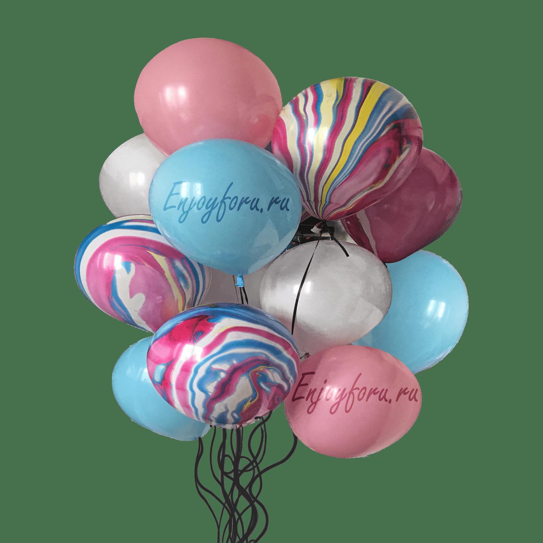 Облако разноцветных шаров розового, голубого и белого цвета с надписями