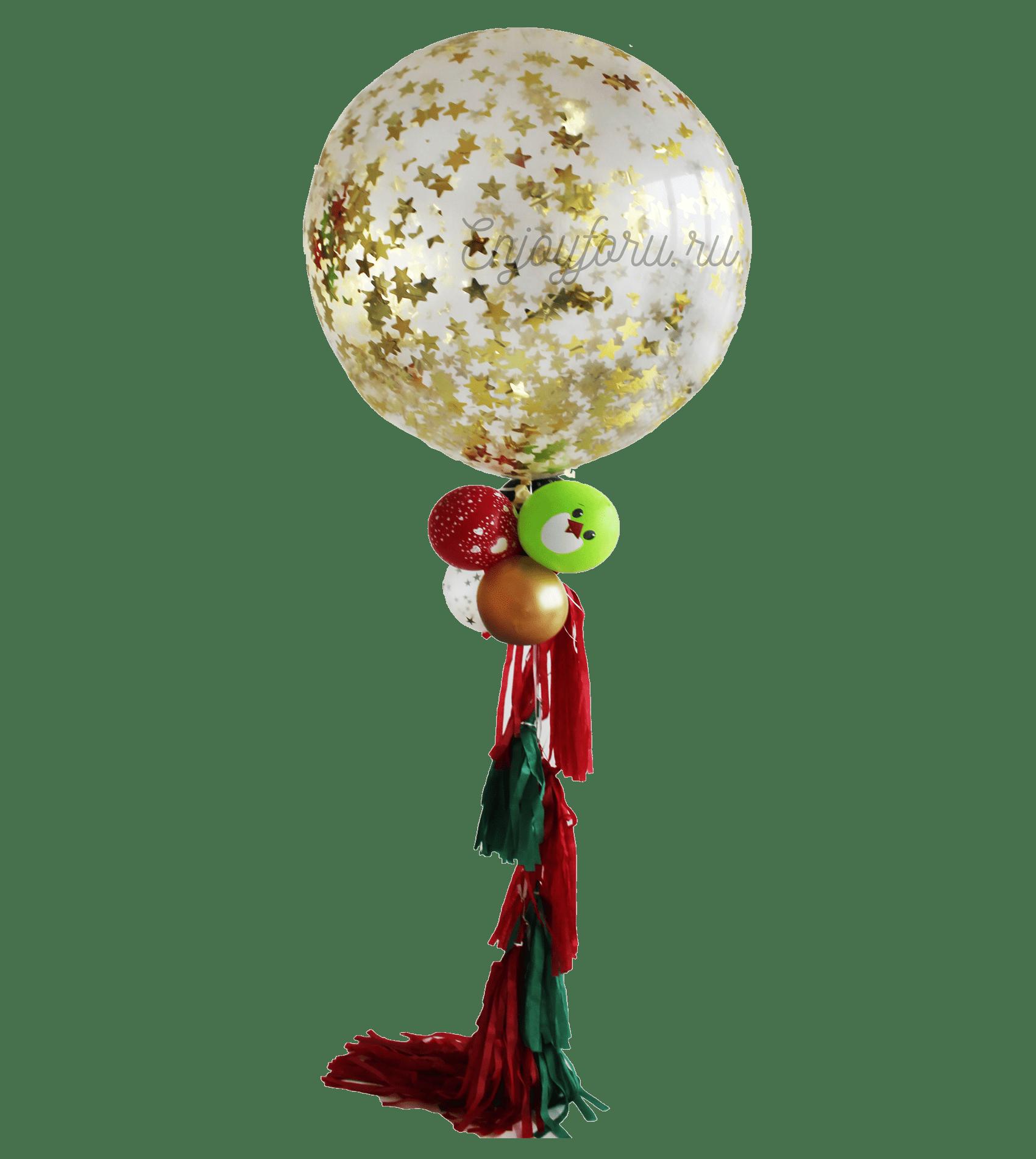 """Большой шар с конфетти и гирляндой """"Тассел"""""""