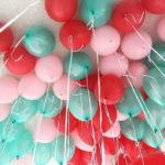 Мятные, розовые и красные шарики - 25 шт