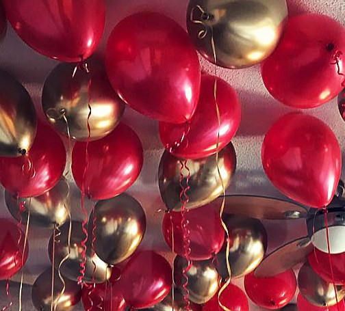 Красные шары и золотые - хром - 25 шт