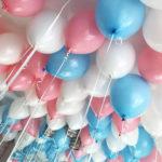 Белые, розовые и голубые шарики - 25 шт